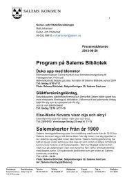 Pressmeddelande från kultur- och fritid 2013-09 ... - Salems kommun