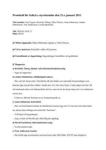 Protokoll för SeKeLs styrelsemöte den 21:e januari 2011