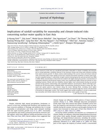 Implications of rainfall variability for seasonality and climate ... - LTHE