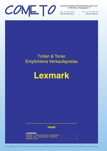 PDF-Katalog Lexmark - Cometo - Computerzubehör ...