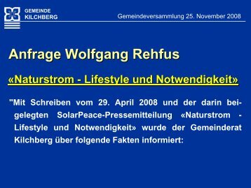 kilchberg - SolarPeace.ch