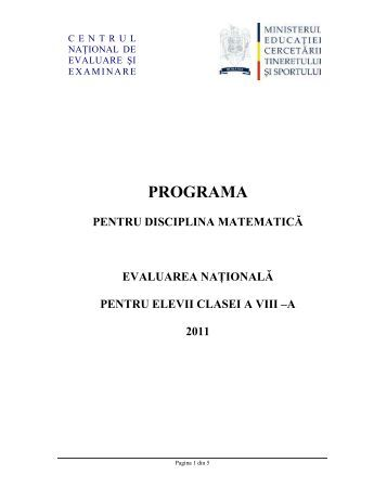 Programa pentru Evaluare Nationala 2011 la Matematica (.pdf)