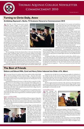 ThOMAS AqUiNAS COllEGE NEwSlEttER COMMENcEMENt 2010