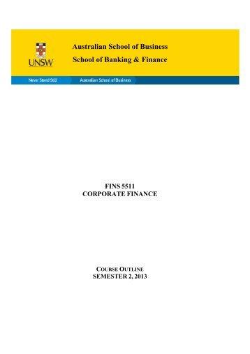 FINS5511 Corporate Finance - Australian School of Business