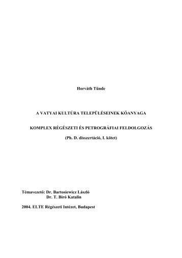 1. rész PDF - MTA Régészeti Intézet