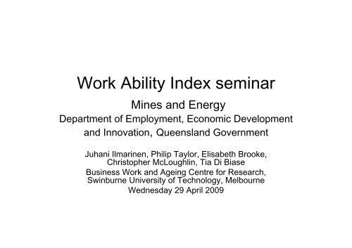 Brisbane Work Ability Index seminar - Queensland Mining and