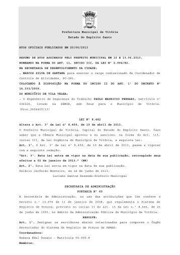 Atos Oficiais publicados em 20/06/2013 - Prefeitura de Vitória