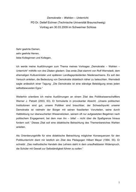 1 Demokratie â Wahlen â Unterricht Pd Dr Detlef