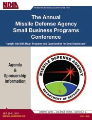 2011 Annual Small Business Conference Agenda - Missile Defense ...