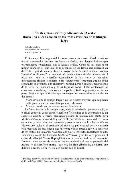 Rituales, manuscritos y ediciones del Avesta - Avestan Digital ...