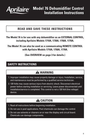 Model 76 Dehumidifier Control Installation Instructions - Aprilaire