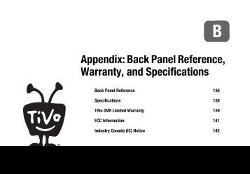 Appendix: Back Panel Reference, Warranty, and Specifications - TiVo
