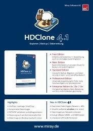 HDClone 4.1 Datenblatt - Miray Software - German Sales Agency