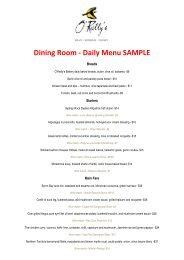 Dining Room - Daily Menu SAMPLE