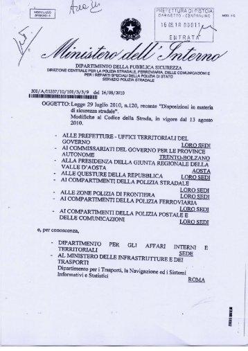 16 agosto 2010 - Circolare ministeriale - ART 80 comma 14