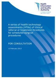 A series of health technology assessments (HTAs) of ... - hiqa.ie