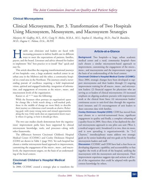 Clinical Microsystems, Part 3  Transformation of Two
