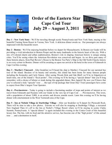 Order of the Eastern Star Cape Cod Tour July 29 – August 3, 2011