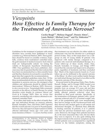 How effective is family therapy for the treatment of anorexia nervosa?