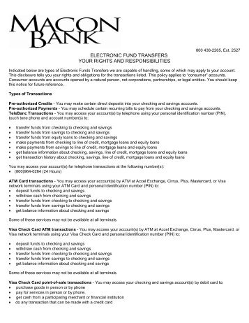Electronic Fund Transfers Disclosure - Macon Bank