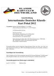 Ausschreibung Internationaler Deutscher Klassik- Kart Pokal 2012
