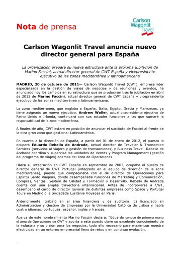 Carlson Wagonlit Travel anuncia nuevo director general para España