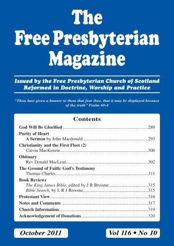 October - the Free Presbyterian church of Scotland
