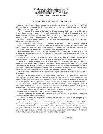 NIT-71 - West Bengal Agro Industries Corporation Ltd.
