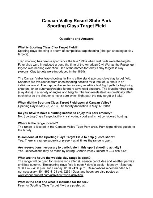 Canaan Valley Resort State Park Sporting Clays Target Field