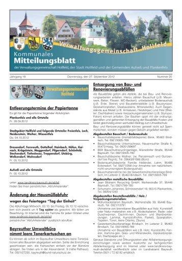 Sonstige Mitteilungen - Hollfeld