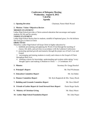 Conference of Delegates Meeting Wednesday, August 8, 2012 7:30 ...
