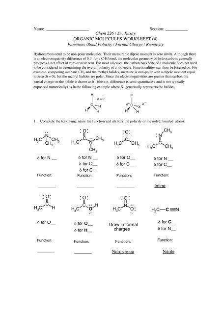 ORGANIC MOLECULES WORKSHEET (4) - ChemConnections