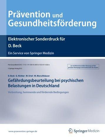 Gefährdungsbeurteilung bei psychischen Belastungen in ...