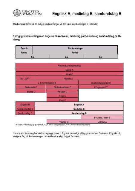 Engelsk A, mediefag B, samfundsfag B