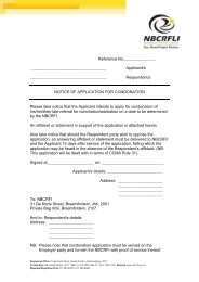 Notice of Application for Condonation - nbcrfli.org.za