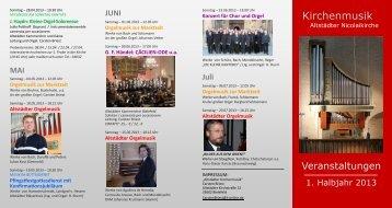 Programm 1. Halbjahr 2013 - in der Altstädter Nicolaikirche
