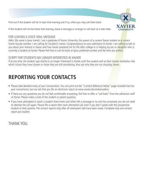 Ambassador Packet (PDF) - Xavier University