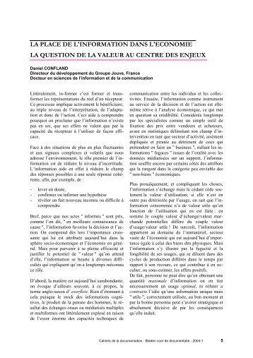 LA PLACE DE L'INFORMATION DANS L'ECONOMIE - ABD-BVD