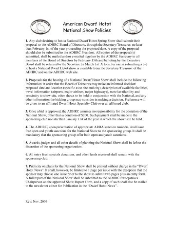 American Dwarf Hotot National Show Policies - the American Dwarf ...