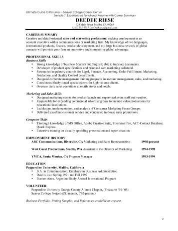 Resume Sample Guide (Experienced) - Pepperdine University