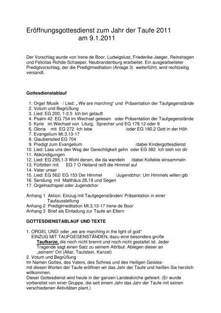 Ja Eröffnungsgottesdienst Zum Jahr Der Taufe 2011 Jahr Zur