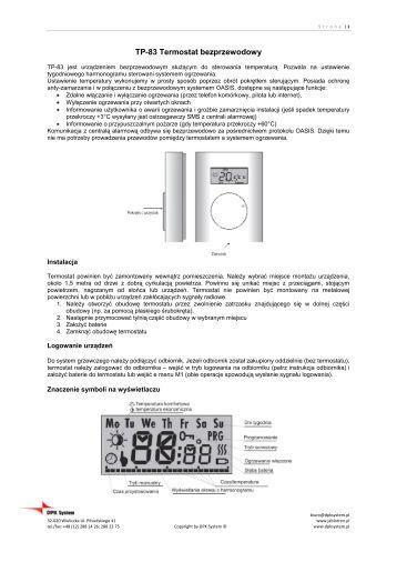TP-83 Termostat bezprzewodowy