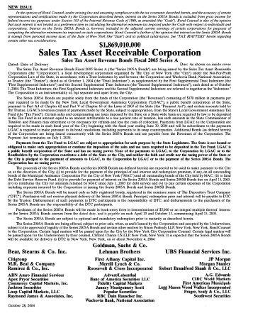 Sales Tax Asset Revenue Bonds