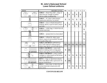 Lower School uniform requirements - St. John's Episcopal School