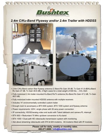 2.4m C/Ku-Band Flyaway and/or 2.4m Trailer with HDDSS