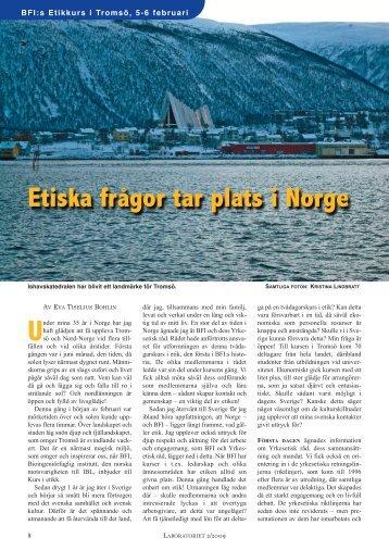 Etiska frågor tar plats i Norge