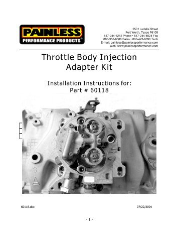 Throttle Body Injection Adapter Kit Installation Instructions for - Jegs