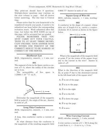 Create assignment, 85707, Homework 13, Aug 30 at ... - Web Physics