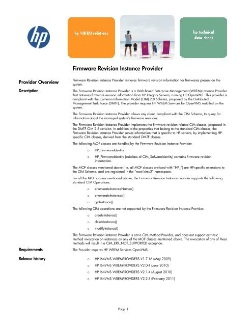 Firmware Revision Instance Provider - OpenVMS Systems - HP