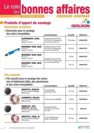 Découvrez le coin des bonnes affaires octobre 2012 - Oerlikon